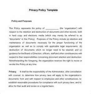 free privacy policy templates 7 privacy policy templates free sles exles