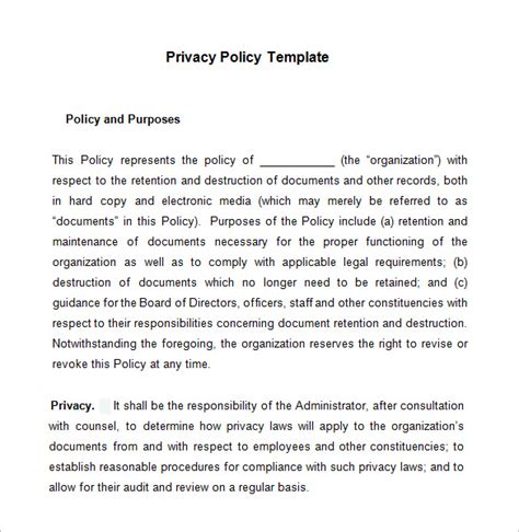 business privacy policy template 8 privacy policy templates free sles exles