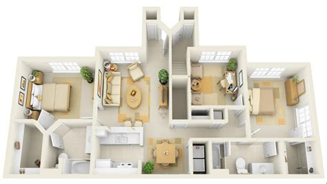 home design for 3 room 50 three 3 bedroom apartment house plans architecture