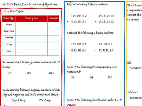 Boolean Search Worksheet by Ocr A Level Computer Science 1 4 Data Types Data