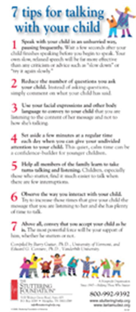 7 Tips On Talking To Your About by 7 Tips For Talking With Your Child Stuttering Foundation