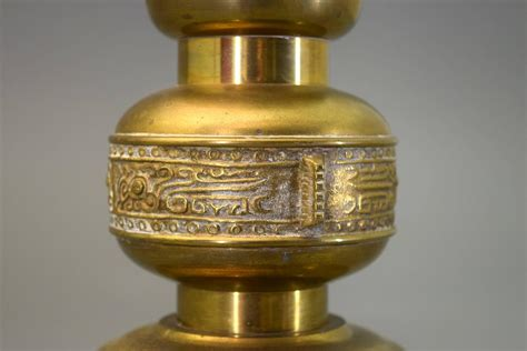 Mantel Candle Holders Large Mantle Or Floor Brass Candle Holder Incised Pattern