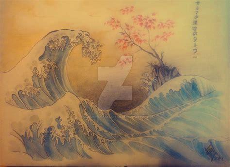 tsunami tattoo karma tsunami in traditional japanese a by