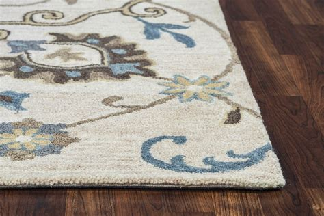 Leons Area Rugs Traditional Motifs Floral Wool Area Rug In Beige Mocha Brown 8 X 10
