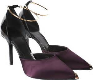 givenchy plum colored satin and shiny black leather court