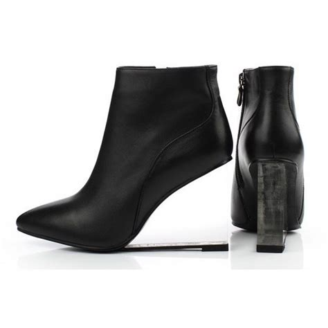 Wedges Korea Black black leather korean transparent wedge high heel ankle boots