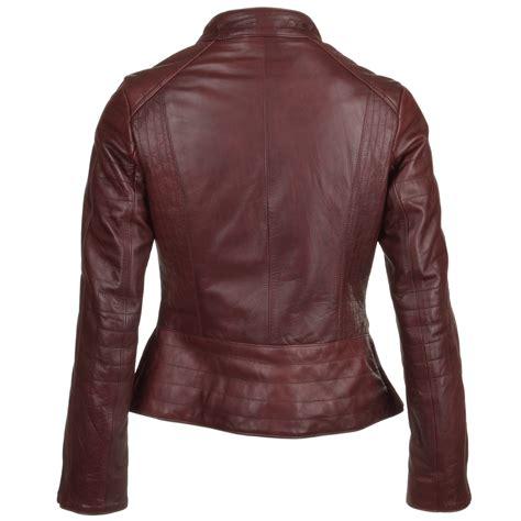 ladies leather biker womens leather biker jacket bordeaux ebella