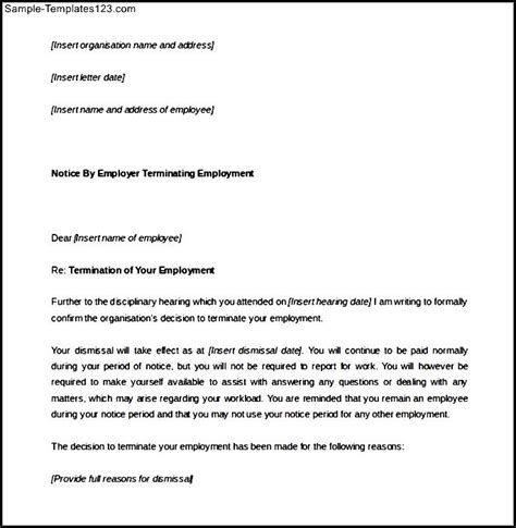 termination letter format with notice period leave disciplinary termination notice period letter word