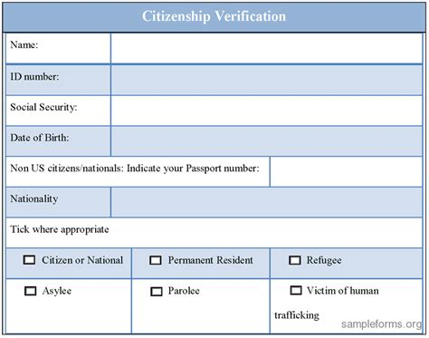 Proof Of Employment Letter For Citizenship Sle Citizenship Verification Form Sle Forms