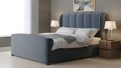 King Size Bed With Drawers by Carlito Pewter Velvet King Size Bed With Drawers Uk