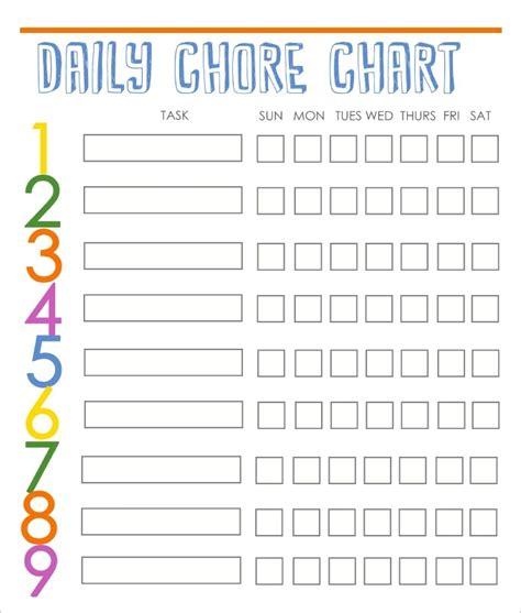 chore list template for chore chart template beepmunk