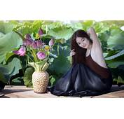 Beautiful Asian Girl With Flowers HD Wallpaper