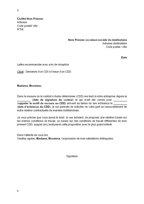 Lettre de motivation embauche cdi lettre de motivation