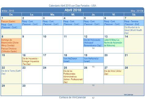 Calendario Abril 2018 Calendario Abril 2018 Para Imprimir Estados Unidos