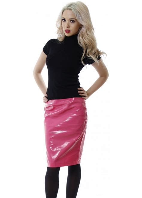 pink vinyl skirt pink pvc midi skirt cheap pencil skirt