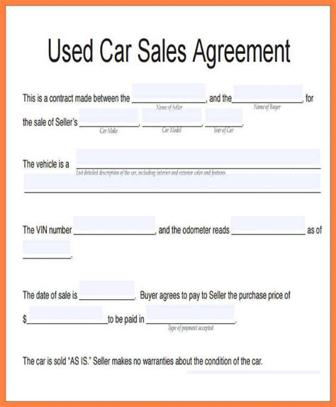 Car Sale Agreement Word Doc Gtld World Congress Usufructuary Contract Sle Template