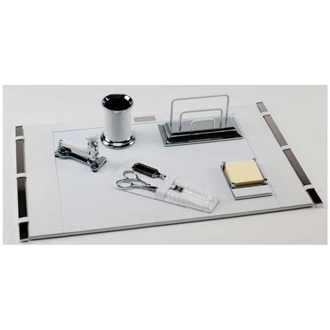 White Leather Desk Accessories White Mini Crocodile Deluxe Leather Desk Set Paolo Guzzetta