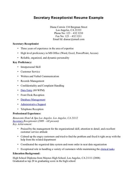 receptionist resume samples top 8 company receptionist resume