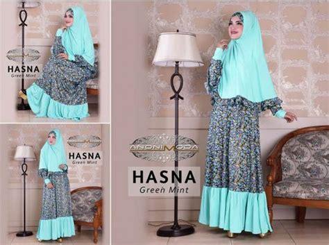 hasna syar i green baju muslim gamis modern