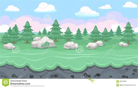 landscape layout horizontal seamless editable forest landscape for game design stock