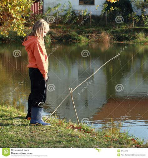 girl fishing  pond stock  image