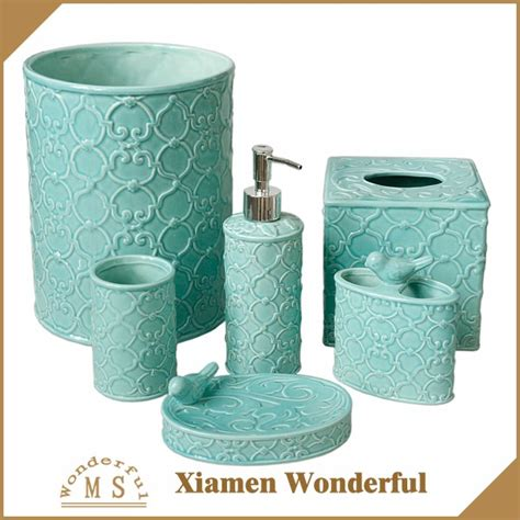 western bathroom decor wholesale hot sale modern ceramic color glazed bathroom accessories