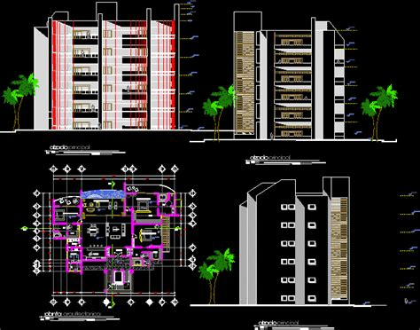apartments building  disabled people dwg full project