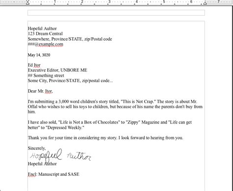 cover letter for story letter formats exles best template collection