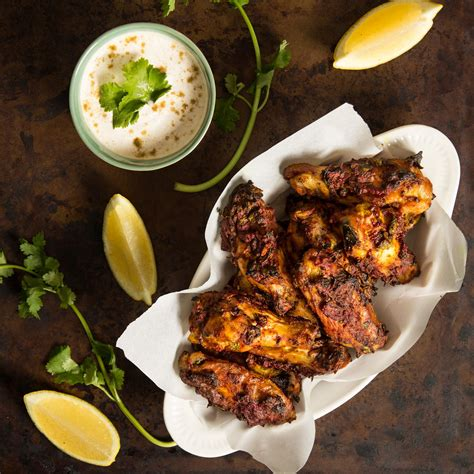 baked tandoori chicken wings with cumin yogurt dip
