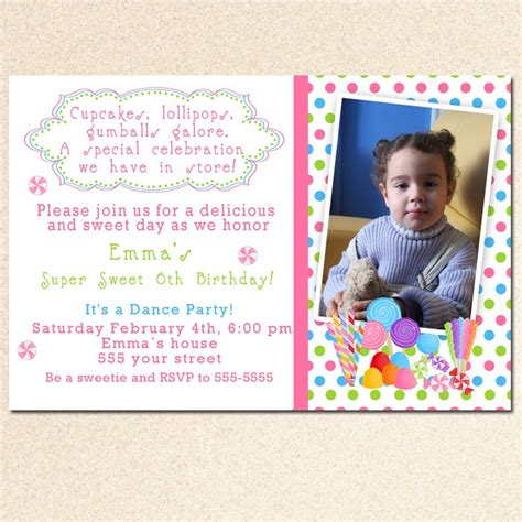 Candyland Baby Shower Invitations by Printable Candyland Birthday Baby Shower Invitations