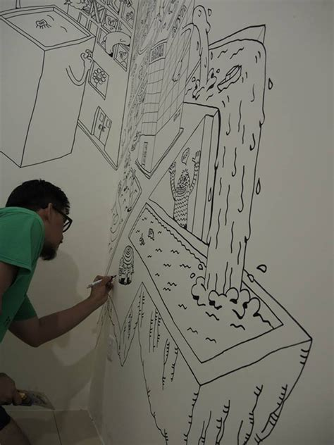drawing on bedroom walls creative dad decorates his son s bedroom wall by drawing a