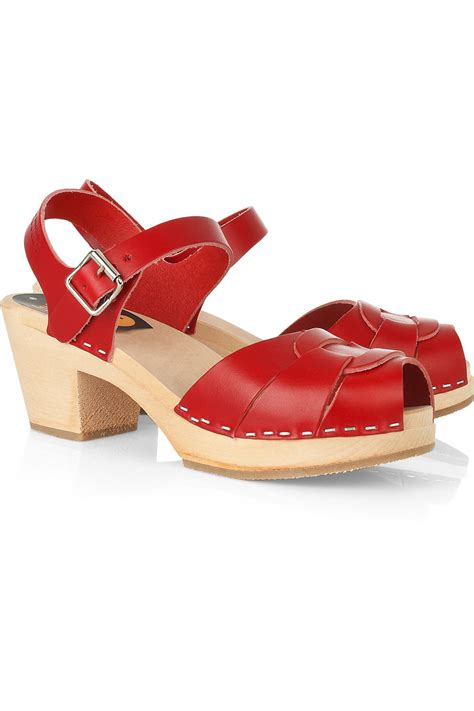 clog sandals for swedish hasbeens high leather clog sandals in lyst