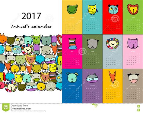 Calendar With Photos Animals Calendar 2017 Design Stock Vector Image