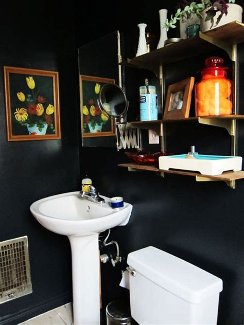 black bathroom walls black bathroom eclectic bathroom