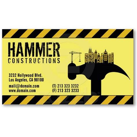 business cards for construction company construction business cards