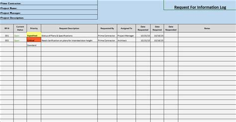 Request For Information Rfi Log Template Rfi Excel Template