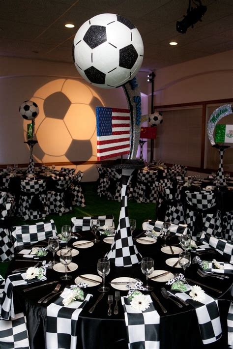 soccer theme bar mitzvah sports theme centerpiece