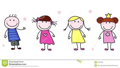 free vector doodle characters stick figures doodle children characters stock vector