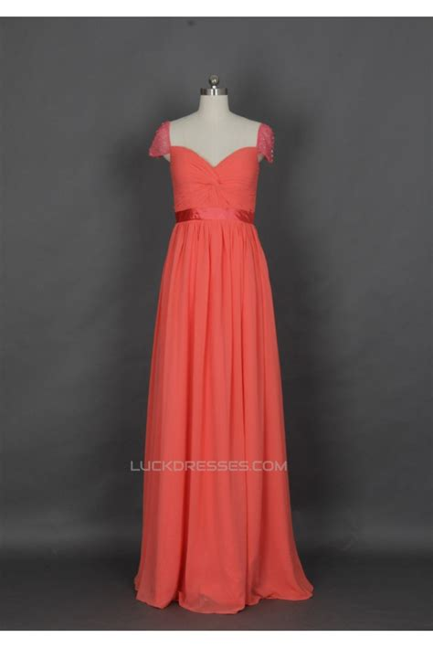 Sleeve A Line Chiffon Dress a line cap sleeve beaded chiffon prom evening formal