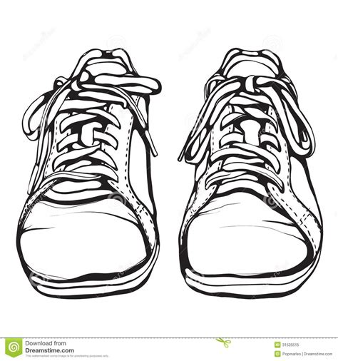 shabby running shoes in black ink royalty free stock photo