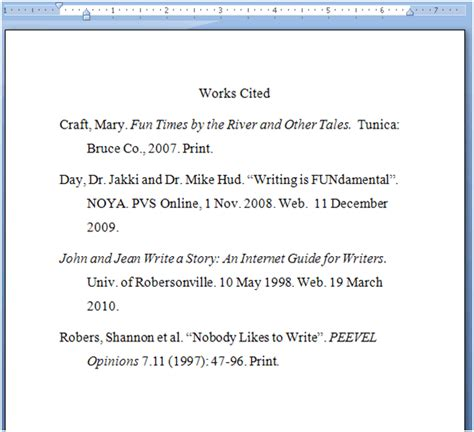 Work Cited Essay Exle by Works Cited Exles The Writing Center
