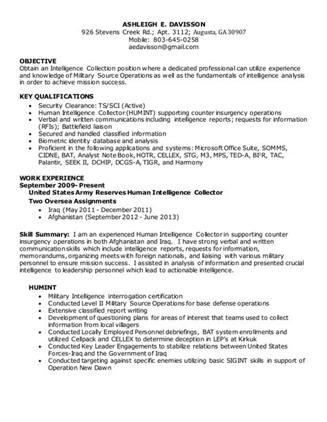 Human Intelligence Collector Sle Resume by Humint Analysis Resume