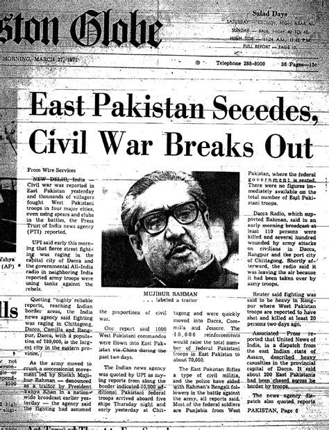 1971 pakistan civil war east pakistan secedes civil war breaks out icsf media