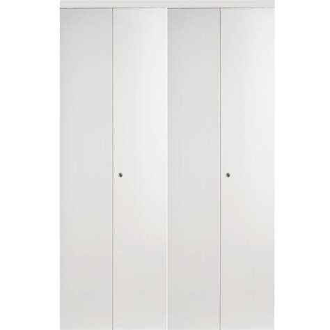 60 Bi Fold Closet Doors Impact Plus 60 In X 80 In Smooth Flush Solid White Mdf Interior Closet Bi Fold Door With