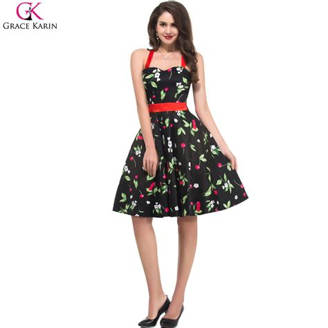 Summer Retro Dress 42553 grace karin summer floral print retro 50s vintage swing robe pin up casual rockabilly