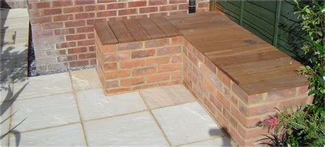 brick and wood bench brick bench with wooden seat patio and yard pinterest