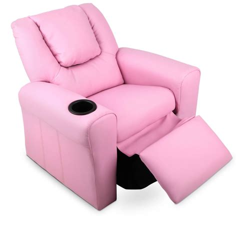 pink recliners kids padded pu leather recliner chair pink