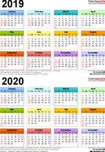3 Year Calendar 2018 To 2020 2019 2020 Calendar Free Printable Two Year Pdf Calendars
