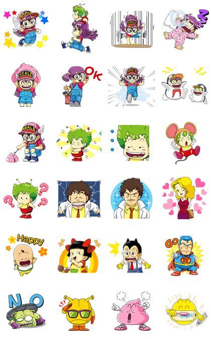 Dr Slump Arale Set 03 Kidslogic dr slump arale animated line stickers