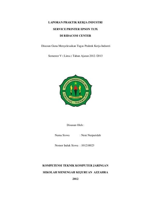 contoh judul laporan prakerin tkj laporan prakerrin tkj lengkap
